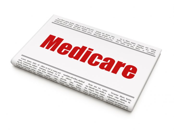 Healthcare concept: newspaper headline Medicare
