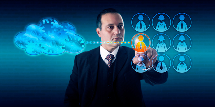 Businessman Moving A Work Process Into The Cloud